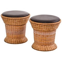 Pair of Vintage Scandinavian Wicker Stools with Leather Seat Pads