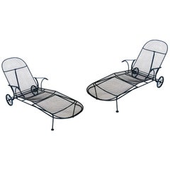 Pair of Vintage Sculptura Chaise Lounges by Russell Woodard