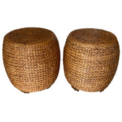 Pair of Vintage Seagrass Drum Benches Stools Ming Feet