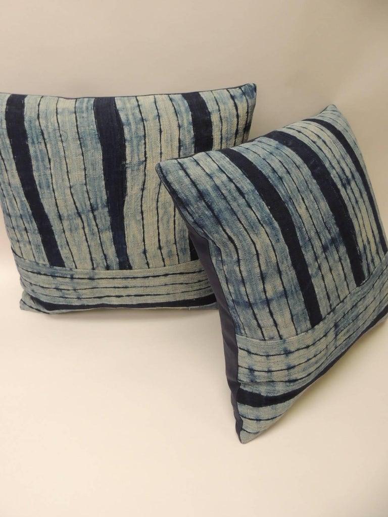 Tribal Pair of Vintage Shibori Stripes Blue Asian Decorative Pillows For Sale