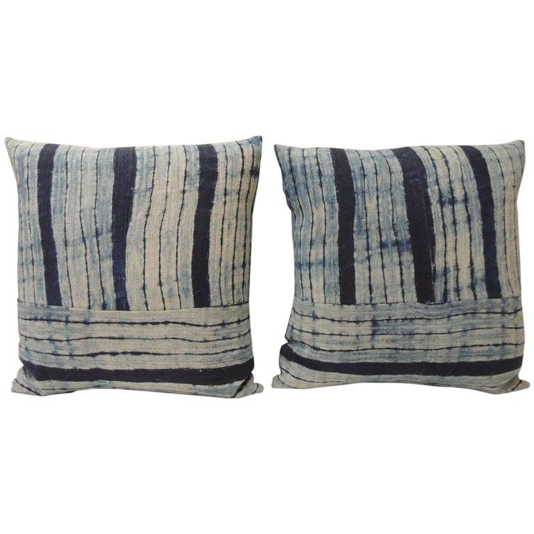 Pair of Vintage Shibori Stripes Blue Asian Decorative Pillows For Sale