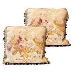 Pair of Vintage Silk Aubusson Cushion Covers Handmade Floral Pillows Cases