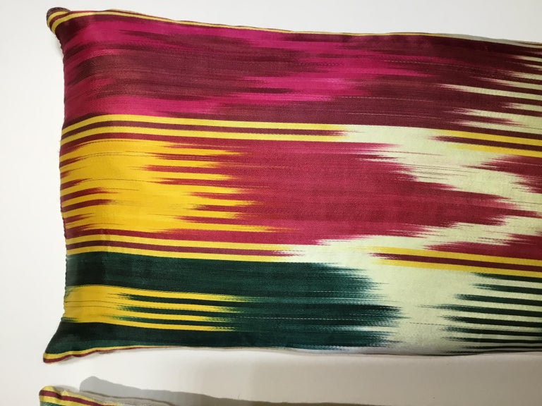 Pair of Vintage Silk Ikat Pillows For Sale 5