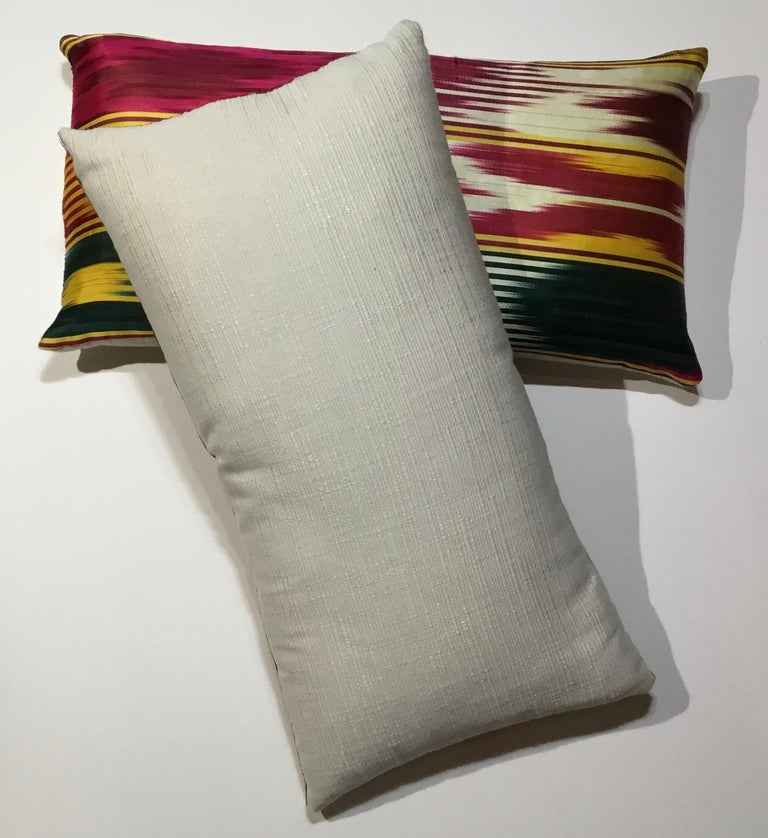 Pair of Vintage Silk Ikat Pillows For Sale 6