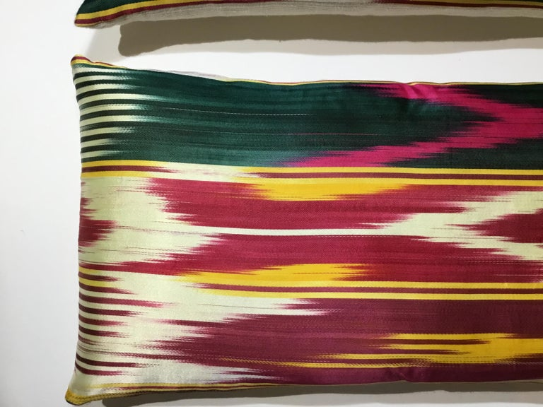 Pair of Vintage Silk Ikat Pillows For Sale 1