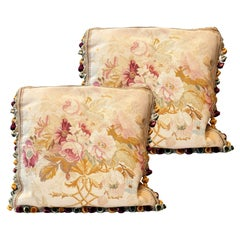Pair of Vintage Silk-Wool Aubusson Cushion Covers Handmade Floral Pillows Cases