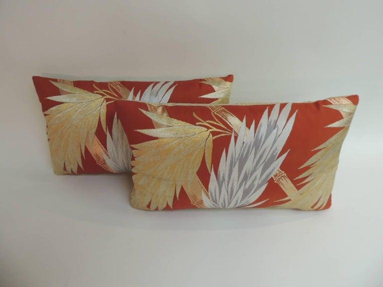 Pair Of Vintage Silver And Gold Obi Lumbar Decorative Pillows With Motif Depicting Bamboo Sticks