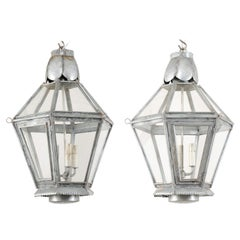 Pair of Vintage Silver Hanging Three-Light Lanterns