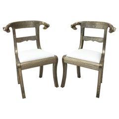 Pair of Vintage Silver Metal Side Chairs