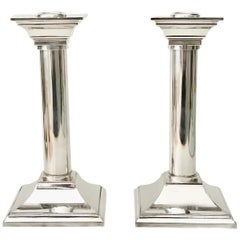 Pair of Vintage Silver Plated Column Candleholders