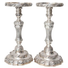 Pair of Vintage Silver Plated Pillar Candlesticks