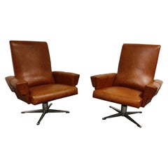 Pair of Vintage Skai and Chrome Swivel Chairs, 1960s, Belgium