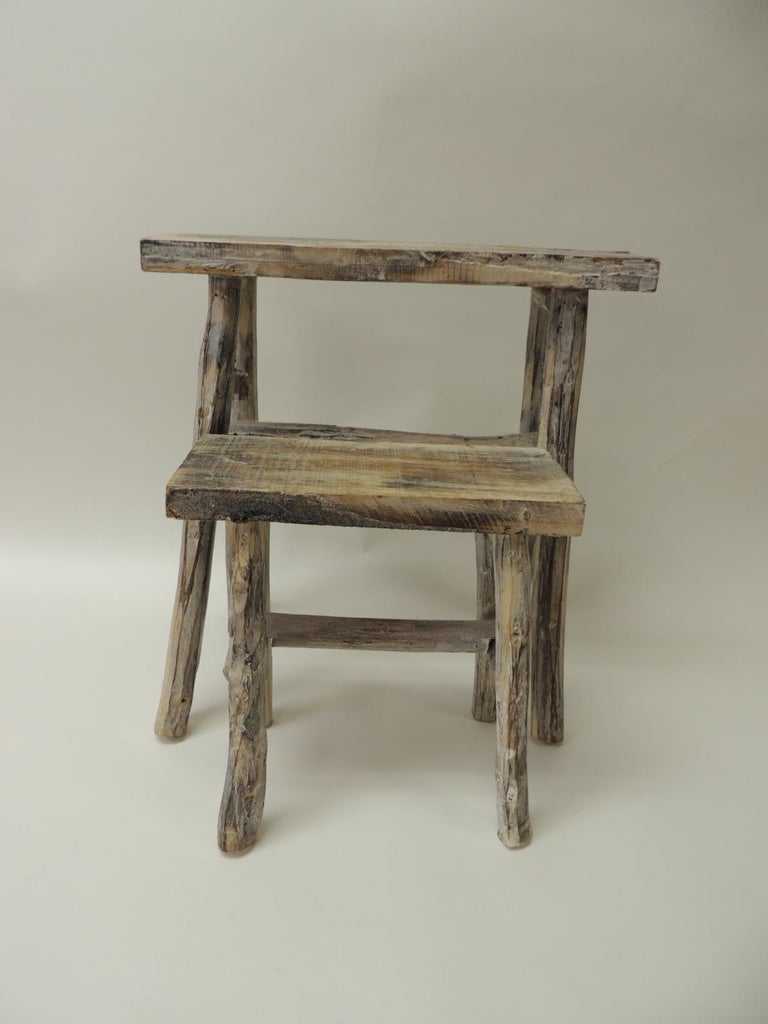 Rustic Pair of Vintage Small Asian White Washed Rubbed Wood Painted Side Tables/Stands For Sale