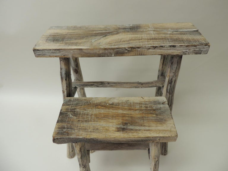 Balinese Pair of Vintage Small Asian White Washed Rubbed Wood Painted Side Tables/Stands For Sale