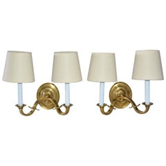 Pair of Vintage Solid Brass Double Arm Sconces with Oval Cream Shades