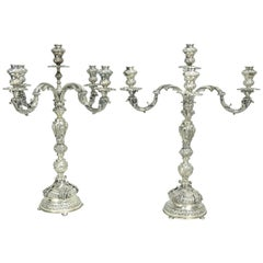 Pair of Vintage Solid Sterling Silver Handmade Baroque Candelabra Made in Italy