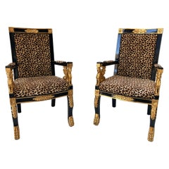 Pair of Vintage Sphinx Egyptian Revival Leopard Print Armchairs