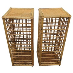 Pair of Vintage Square Bamboo and Rattan Drinks Tables