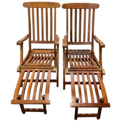 "Pair of Vintage ""SS New Amsterdam"" Reclining Teak Deck Chairs, circa1940"