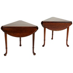 Pair of Vintage Statton Drop Leaf Tea Tables of Solid Cherry