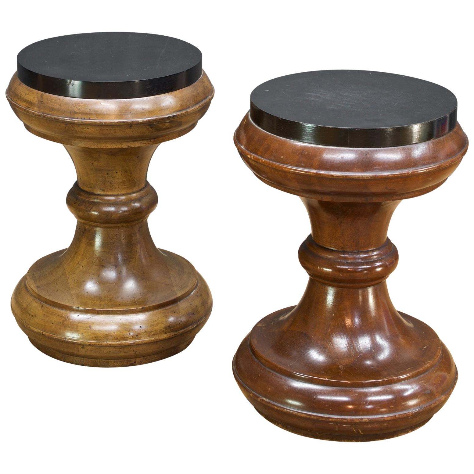 Pair of Vintage Staved Mahogany Chess Piece Table Stool Bohemian Plant Stand