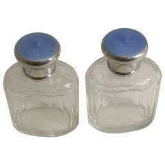 Pair of Vintage Sterling Silver and Guilloche Enamel Cologne / Scent Bottles