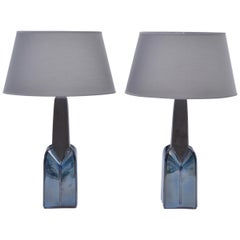 Pair of Mid-Century Modern Stoneware lamps by Einar Johansen for Soholm