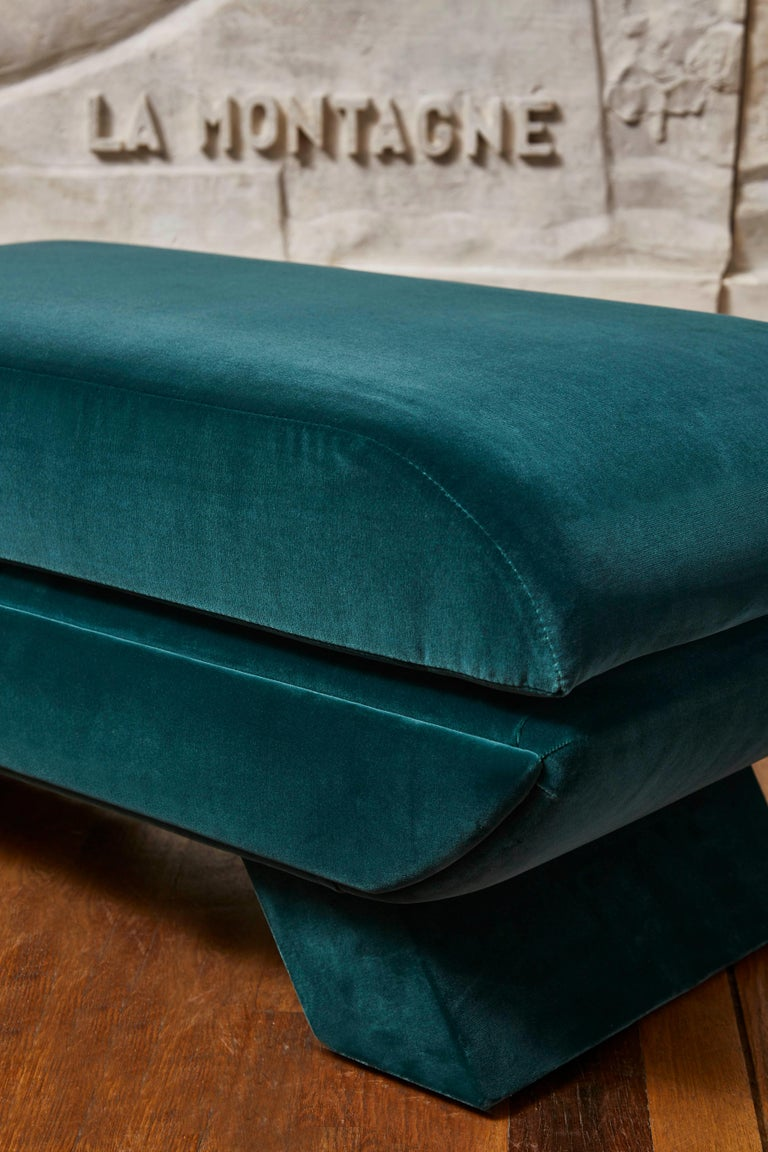 Late 20th Century Pair of Vintage Stools in Velvet For Sale