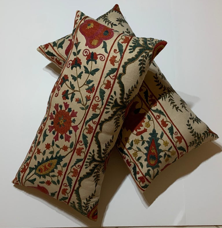 Pair of Vintage Suzani Pillows For Sale 4