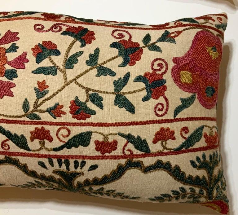 Uzbek Pair of Vintage Suzani Pillows For Sale