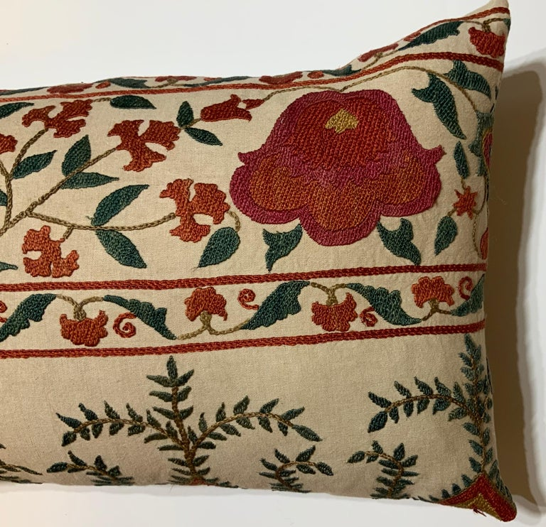Cotton Pair of Vintage Suzani Pillows For Sale