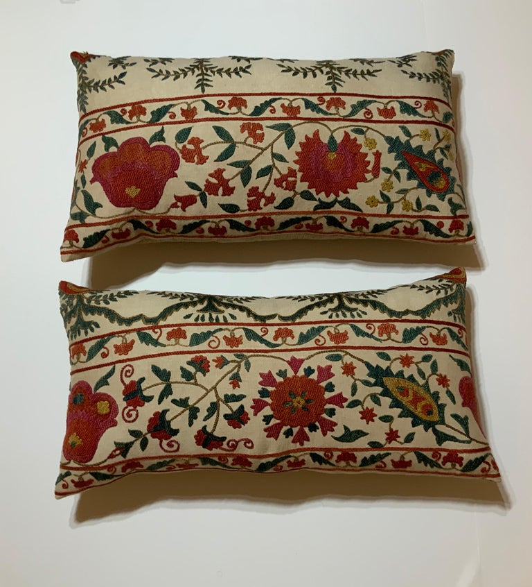 Pair of Vintage Suzani Pillows For Sale 3