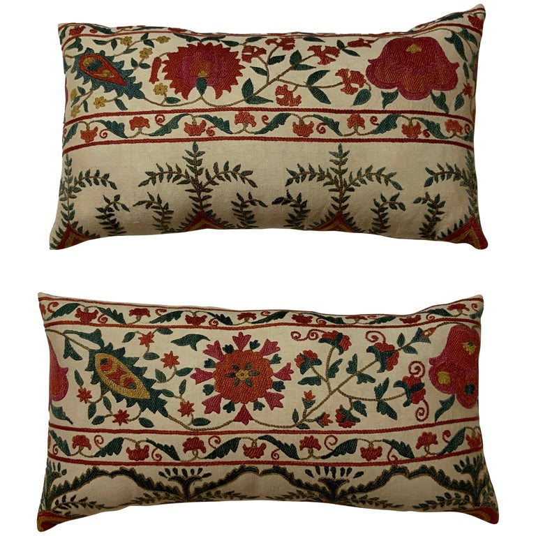 Pair of Vintage Suzani Pillows For Sale