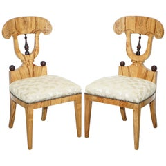 Pair of Vintage Swedish Birch Biedermeier Chairs with Lovely Timber Patina Grain
