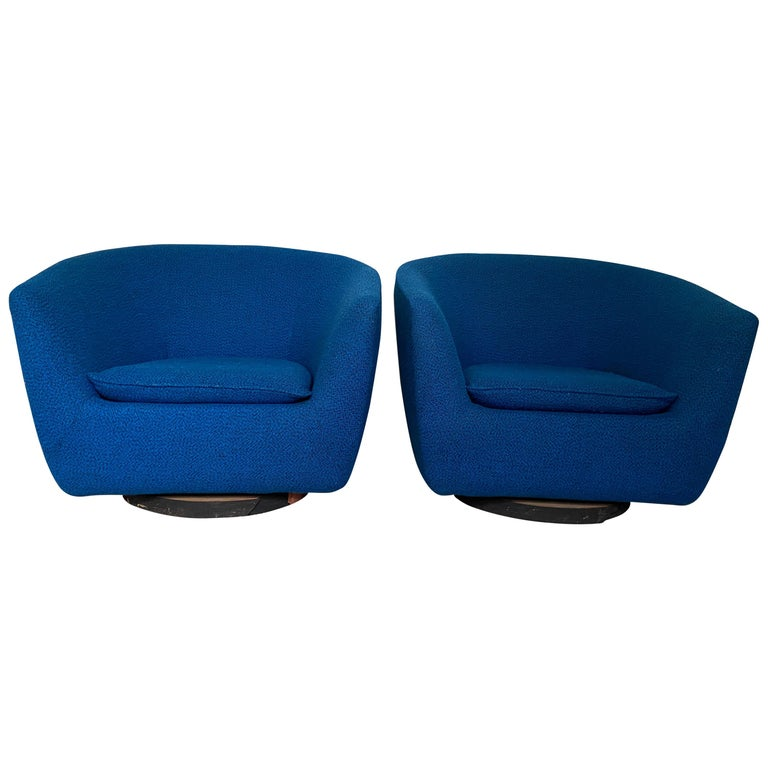 Pair of Vintage Swivel Lounge Chairs For Sale