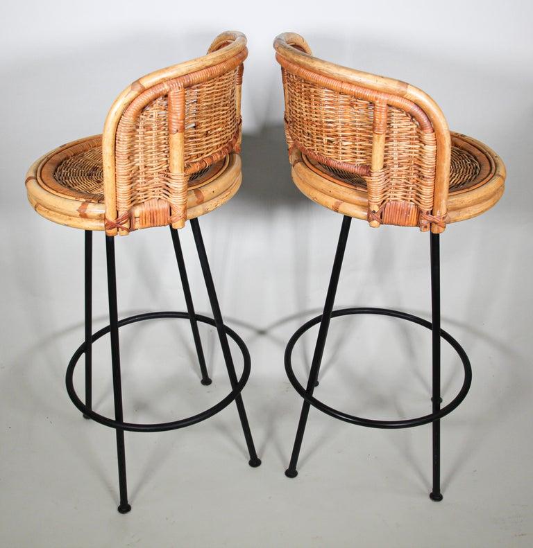 Large Vintage Bamboo Rattan Swivel Stool