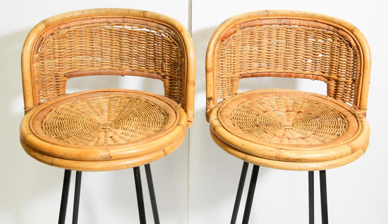 Pair Of Vintage Swivel Woven Rattan Bar Stool 1960s For