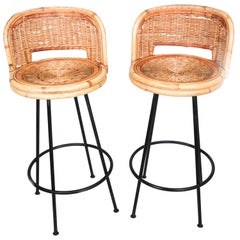 Pair of Vintage Swivel Woven Rattan Bar Stool, 1960s
