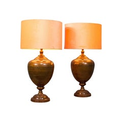 Pair of Vintage Table Lamps, English, Brass, Decorative, Side Light, Circa 1940