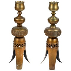 Pair of Vintage Tall Metal Candleholders with 3-Leg Base