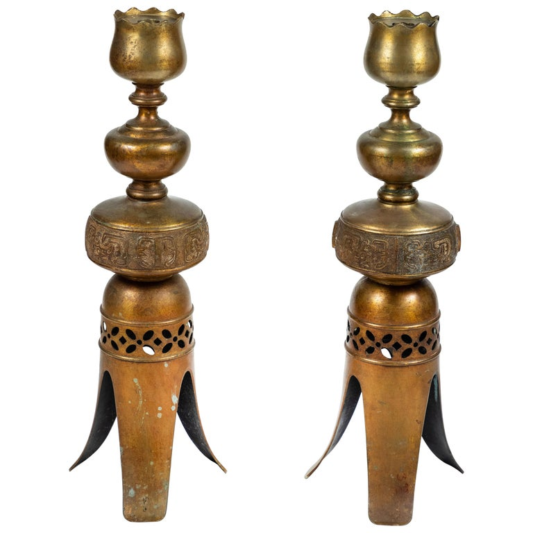 Pair of Vintage Tall Metal Candleholders with 3-Leg Base For Sale