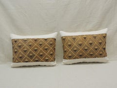 Pair of Vintage Tan and Brown African Kuba Decorative Bolster Pillows