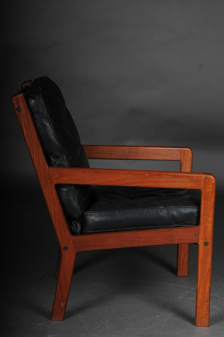 Leather Pair of Vintage Teak Armchairs, Chairs, 1960s-1970s, Danish For Sale