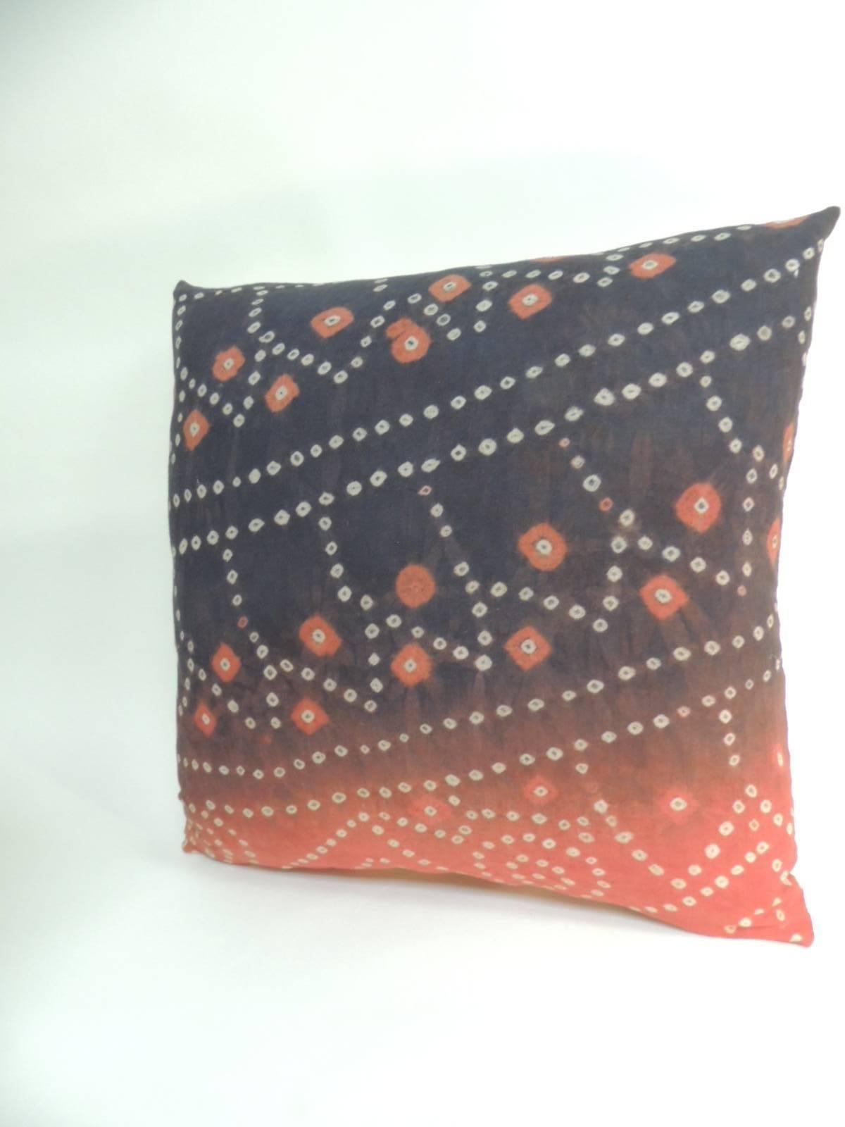 Pr Of Vintage Textile Asian Shibori Hand Dyed Orange Black Decorative Pillows