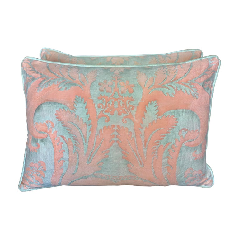 Pair of Vintage Textile Fortuny Pillows For Sale
