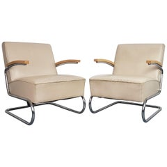 Pair of Vintage Thonet S411 Cantilever Armchairs