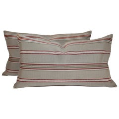 Pair of Vintage Ticking Bolster Pillows