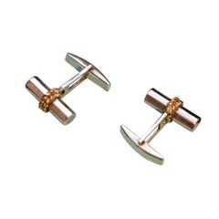 Pair of Vintage Tiffany & Co 18ct Gold & Sterling Silver Cufflinks French Laurel