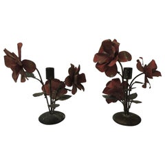 Pair of Vintage Tole Floral Candleholders