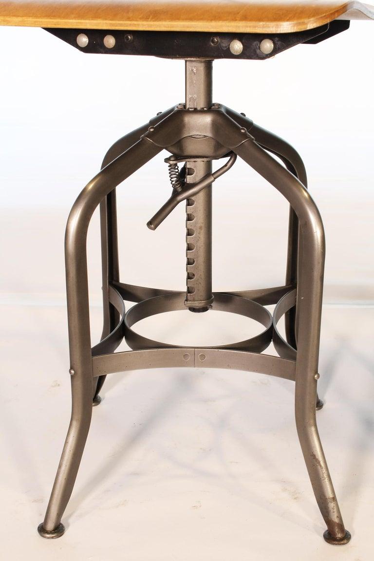 American Pair of Vintage Toledo Bent Plywood Adjustable Stools For Sale